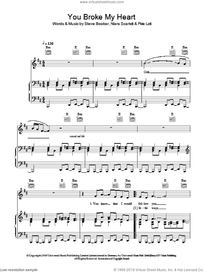 You Broke My Heart sheet music for voice, piano or guitar by Alexandra Burke, Niara Scarlett, Pixie Lott and Steve Booker, intermediate skill level