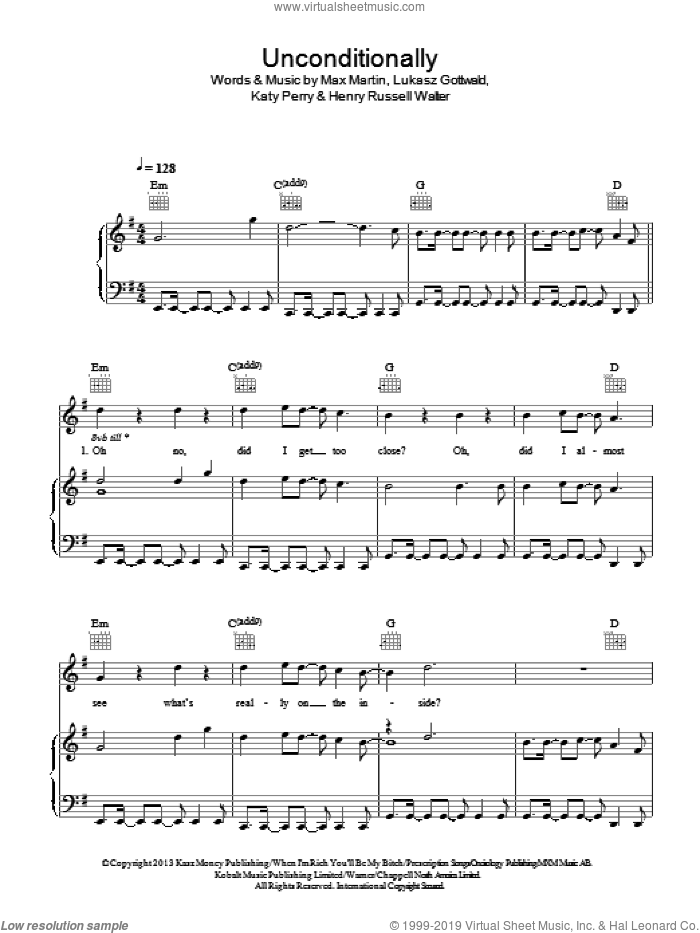 Unconditionally sheet music for voice, piano or guitar by Katy Perry, Lukasz Gottwald and Max Martin. Score Image Preview.