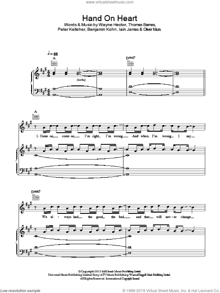 Hand On Heart sheet music for voice, piano or guitar by Olly Murs, Benjamin Kohn, Iain James, Oliver Murs, Peter Kelleher, Thomas Barnes and Wayne Hector, intermediate