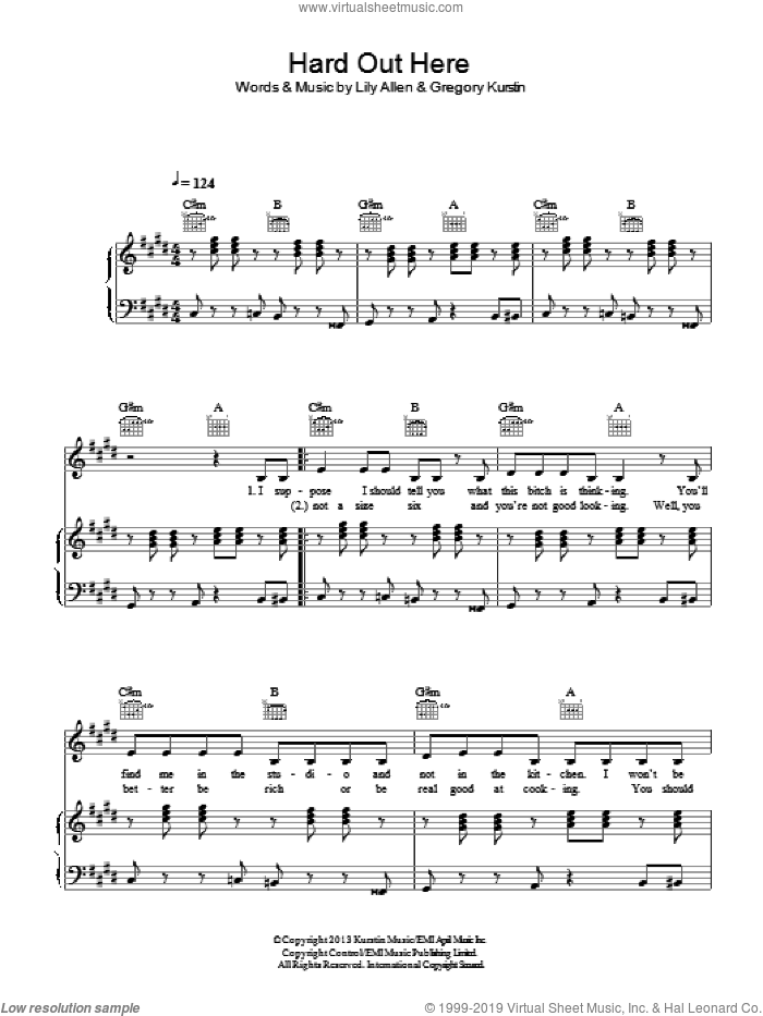 Hard Out Here sheet music for voice, piano or guitar by Lily Allen and Gregory Kurstin, intermediate skill level