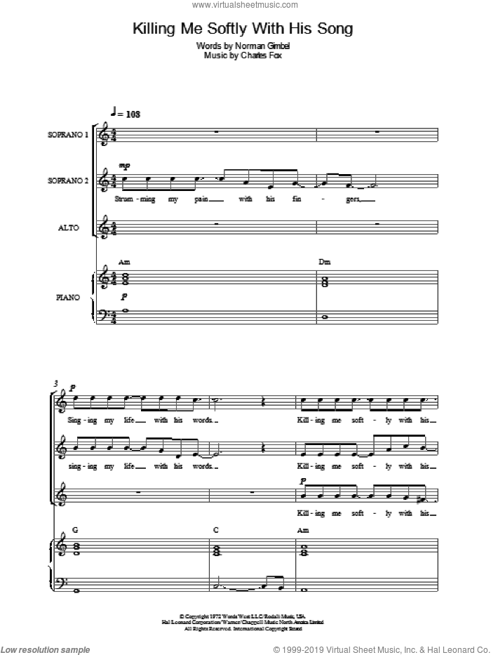 Killing Me Softly With His Song sheet music for choir by Roberta Flack, Charles Fox and Norman Gimbel, intermediate choir. Score Image Preview.