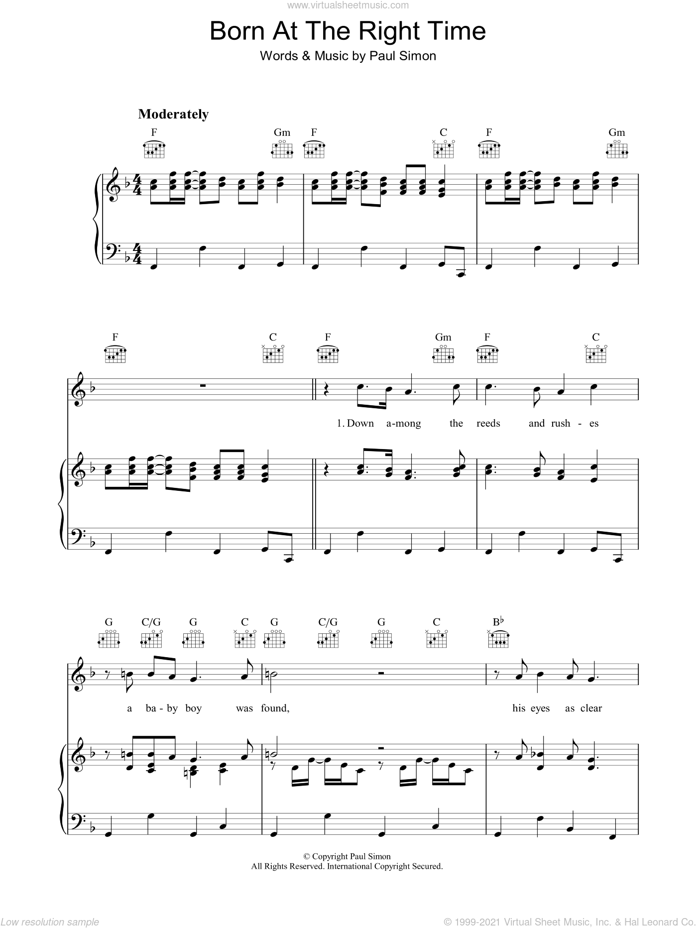 Born At The Right Time sheet music for voice, piano or guitar by Paul Simon