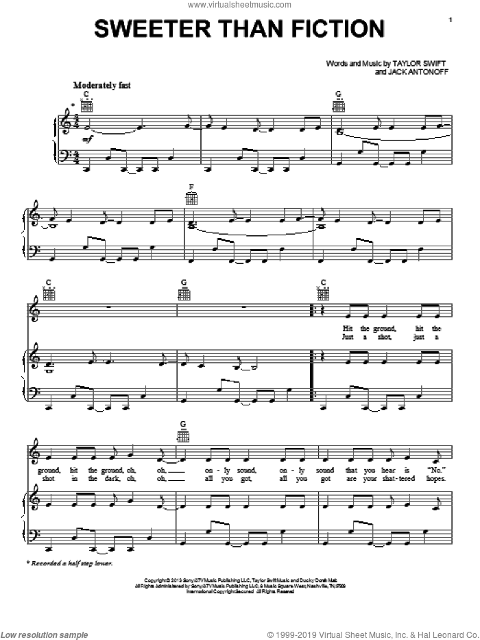 Sweeter Than Fiction sheet music for voice, piano or guitar by Taylor Swift, intermediate. Score Image Preview.