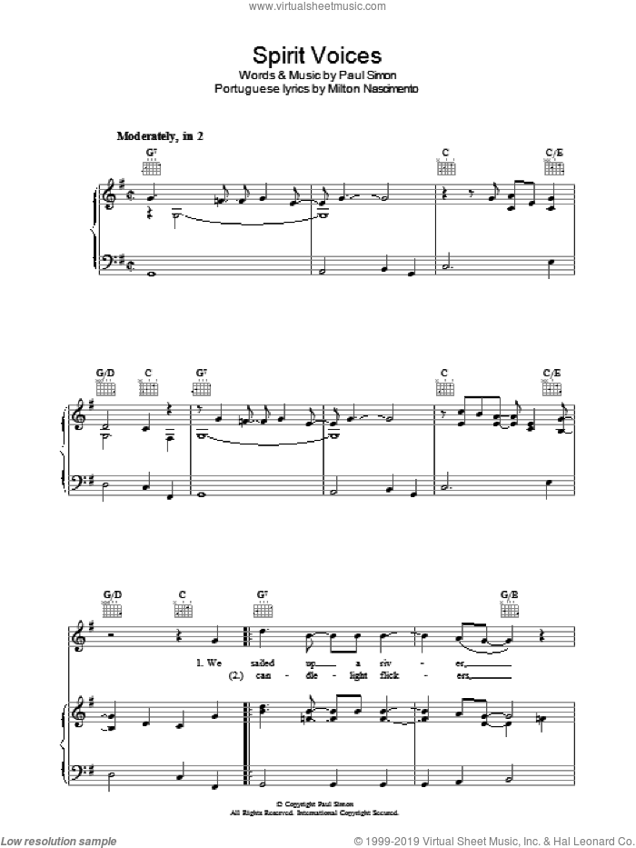 Spirit Voices sheet music for voice, piano or guitar by Milton Nascimento and Paul Simon. Score Image Preview.