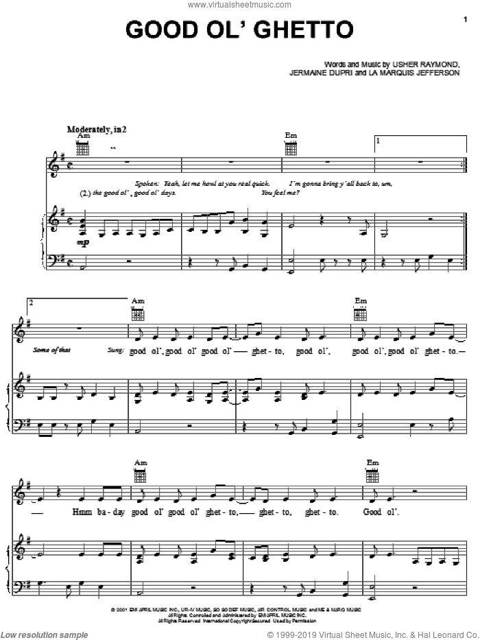 Good Ol' Ghetto sheet music for voice, piano or guitar by Usher Raymond