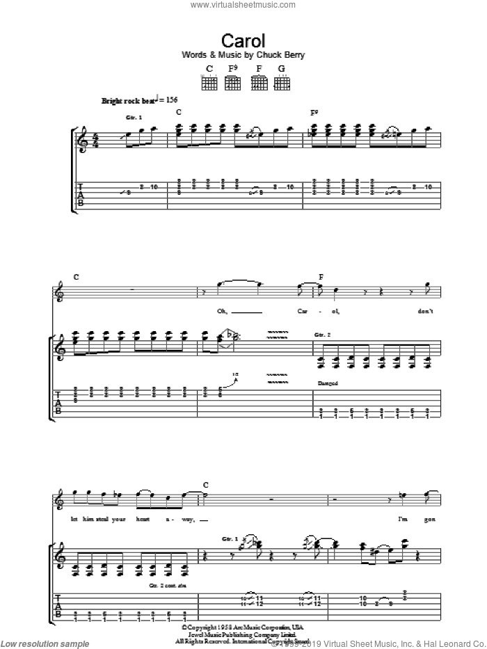 Carol sheet music for guitar (tablature) by Chuck Berry. Score Image Preview.