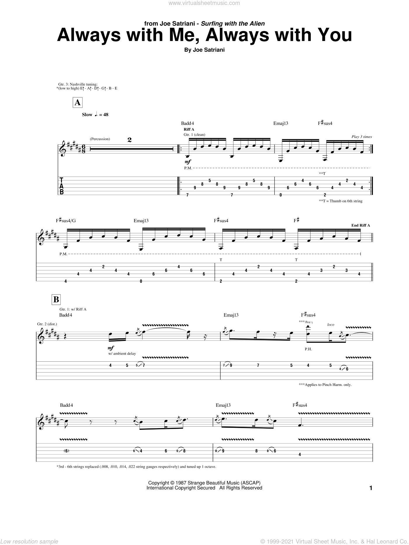 Always With Me, Always With You sheet music for guitar (tablature) by Joe Satriani, intermediate. Score Image Preview.