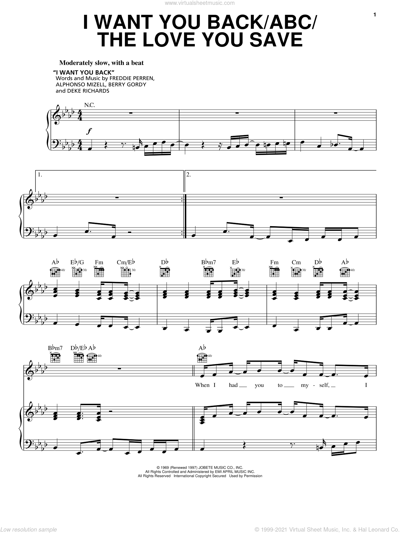 I Want You Back sheet music for voice, piano or guitar by The Jackson 5 and Berry Gordy. Score Image Preview.