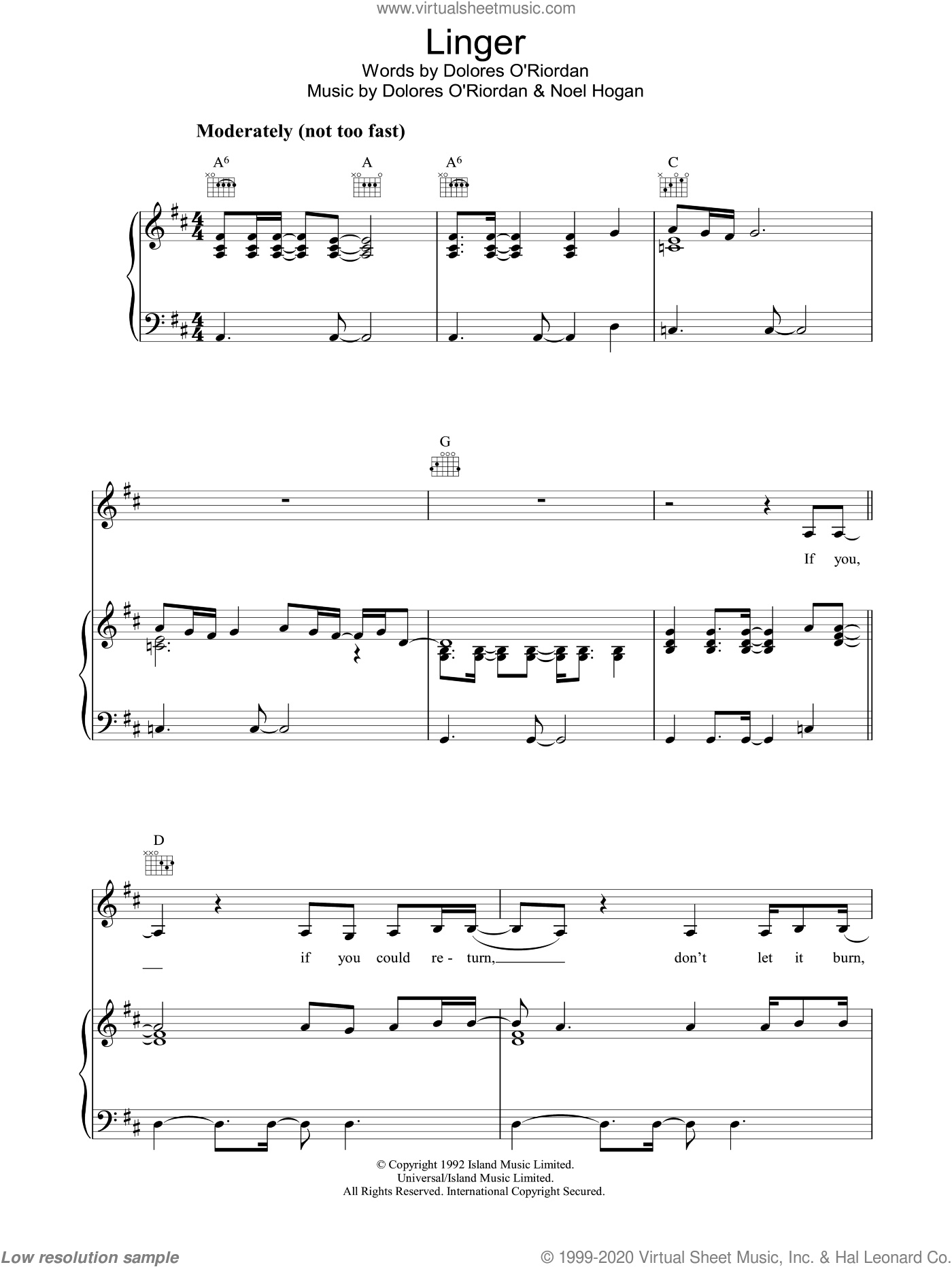 Linger sheet music for voice, piano or guitar by The Cranberries. Score Image Preview.