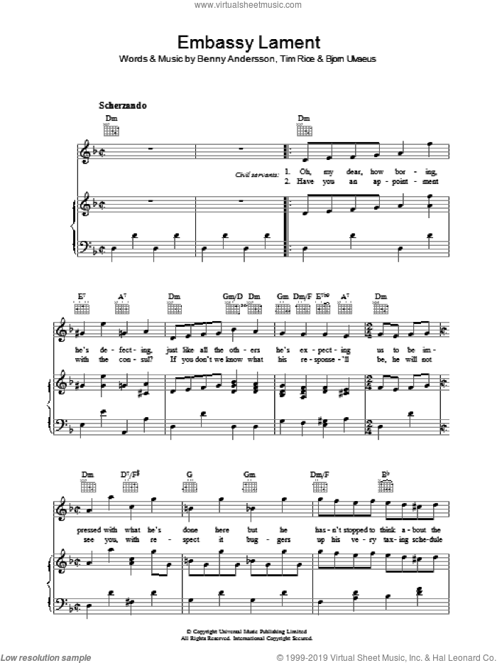 Embassy Lament sheet music for voice, piano or guitar by Bjorn Ulvaeus, Benny Andersson and Tim Rice. Score Image Preview.