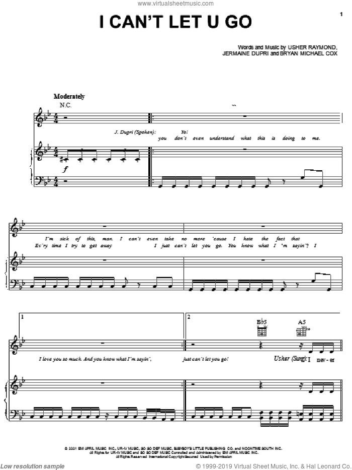 I Can't Let U Go sheet music for voice, piano or guitar by Bryan Michael Cox, Gary Usher, Jermaine Dupri and Usher Raymond, intermediate skill level
