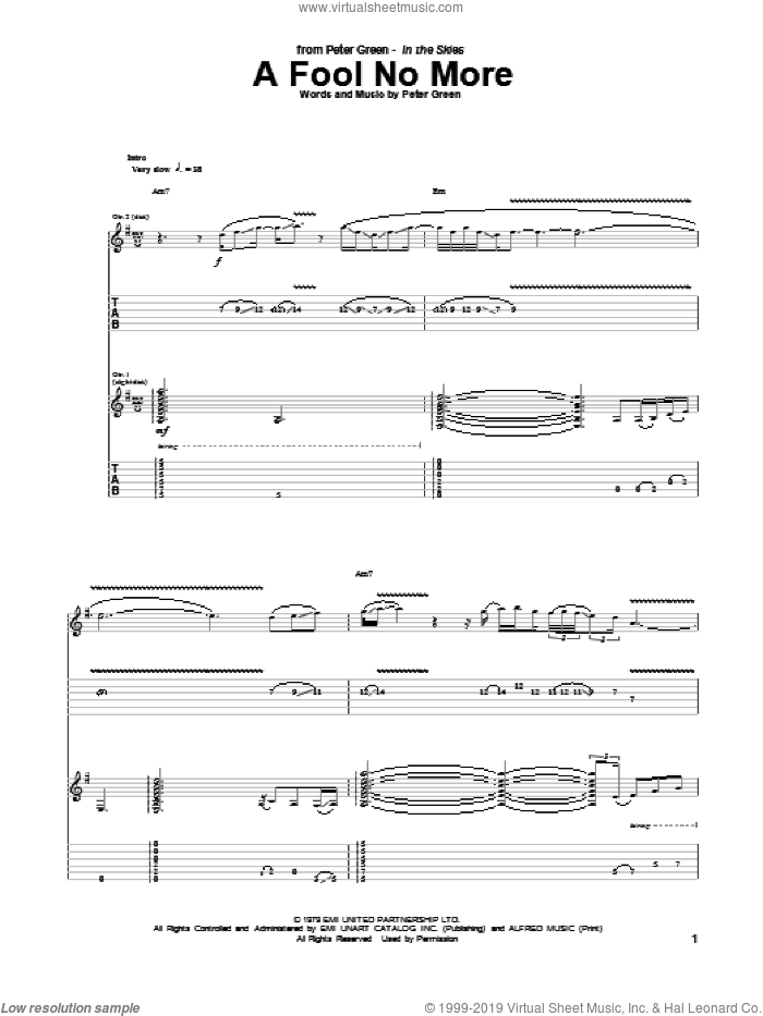 A Fool No More sheet music for guitar (tablature) by Peter Green