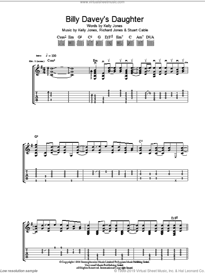 Billy Davey's Daughter sheet music for guitar (tablature) by Stuart Cable, Kelly Jones and Richard Jones. Score Image Preview.