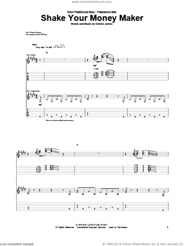 Shake Your Money Maker sheet music for guitar (tablature) by Peter Green and Fleetwood Mac. Score Image Preview.