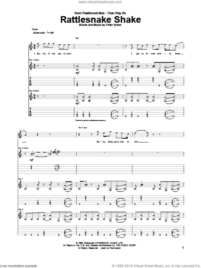 Rattlesnake Shake sheet music for guitar (tablature) by Peter Green, intermediate skill level
