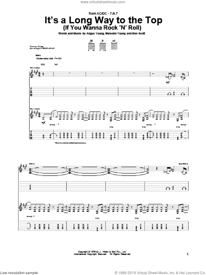 It's A Long Way To The Top (If You Wanna Rock 'N' Roll) sheet music for guitar (tablature) by AC/DC. Score Image Preview.