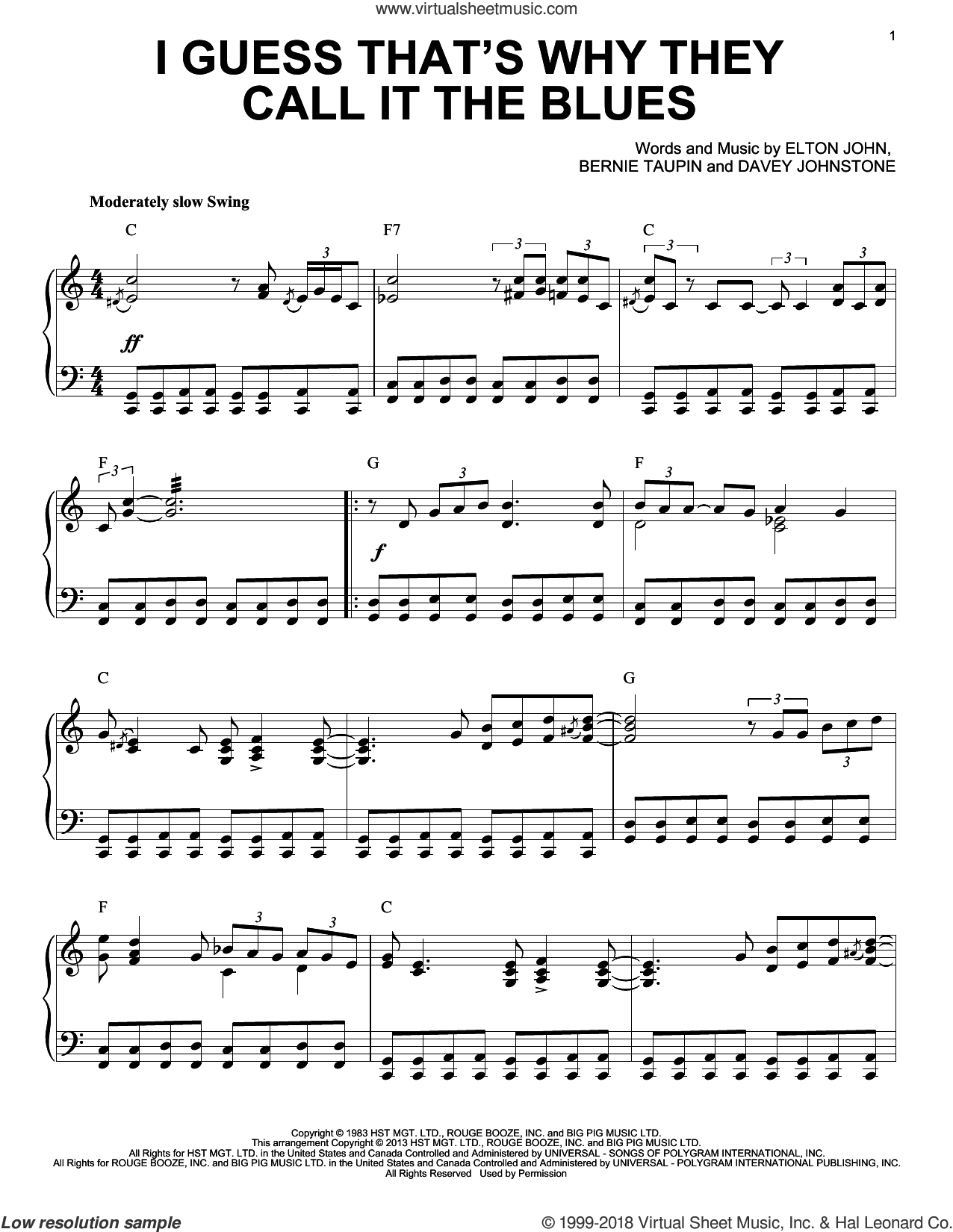 I Guess That's Why They Call It The Blues [Jazz version] (arr. Brent Edstrom) sheet music for piano solo by Elton John and Bernie Taupin, intermediate skill level