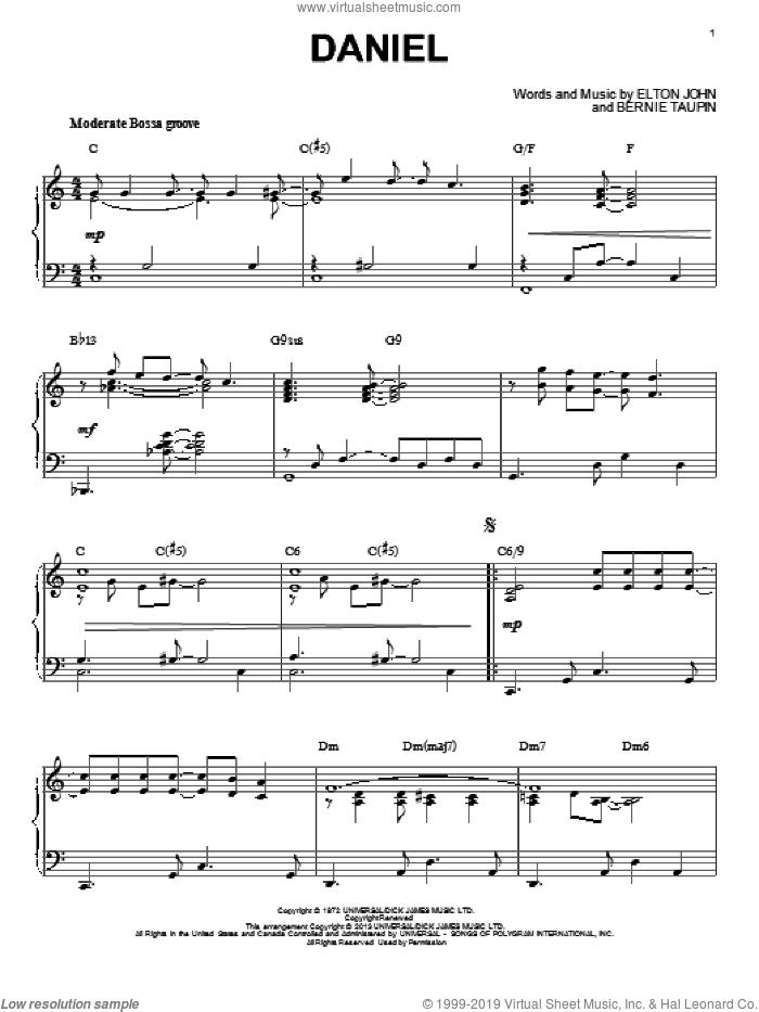 Daniel [Jazz version] (arr. Brent Edstrom) sheet music for piano solo by Elton John, intermediate skill level
