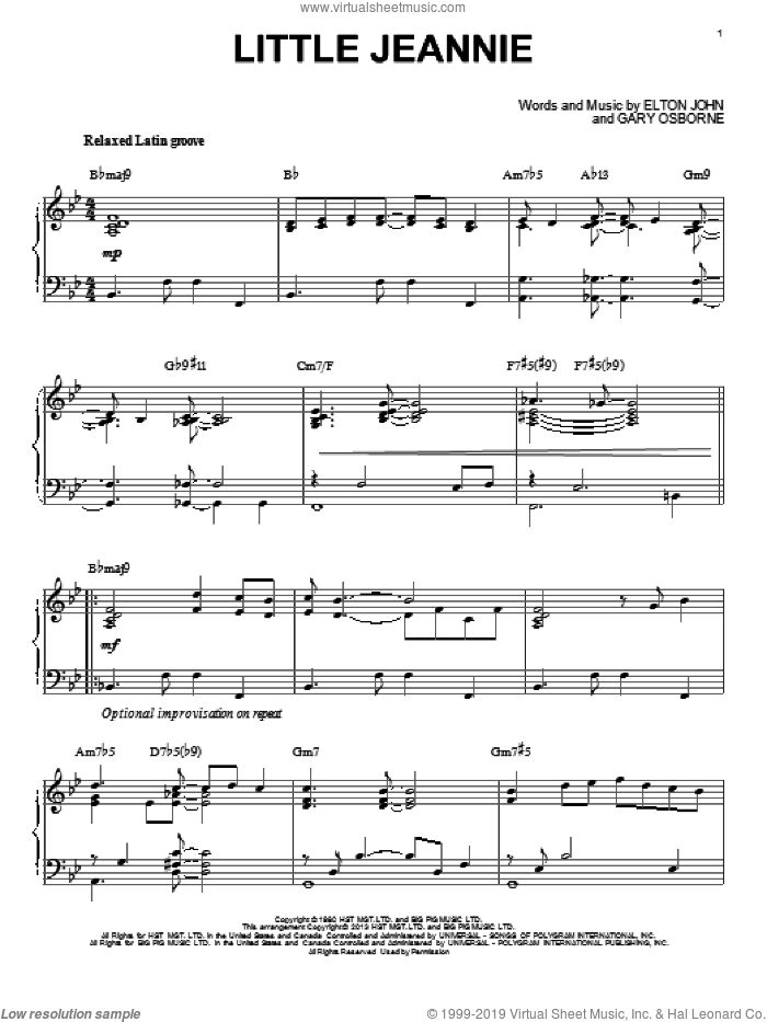 Little Jeannie sheet music for piano solo by Elton John and Gary Osborne. Score Image Preview.