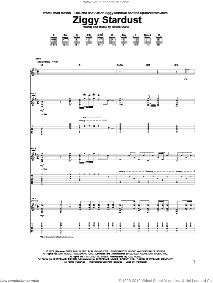 Ziggy Stardust sheet music for guitar (tablature) by David Bowie. Score Image Preview.