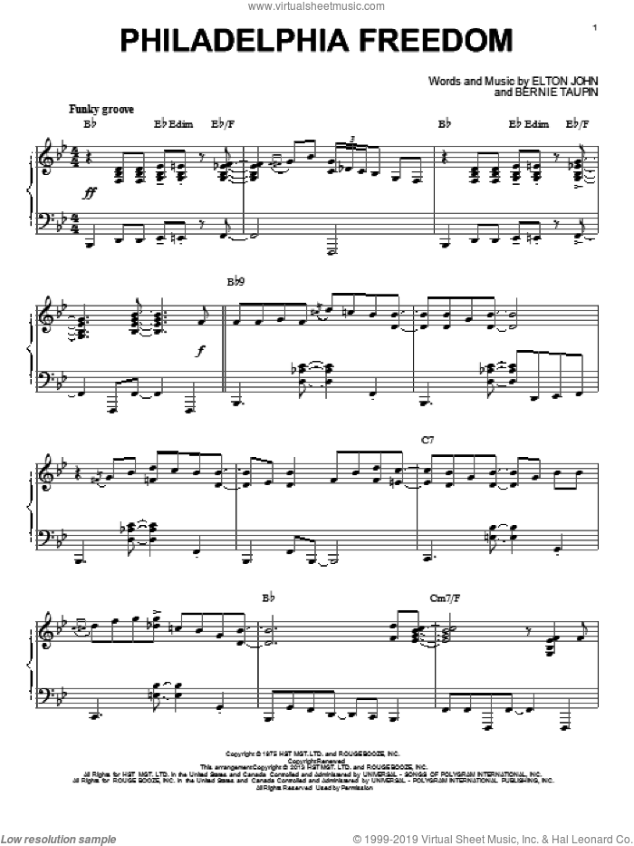 Philadelphia Freedom sheet music for piano solo by Elton John and Bernie Taupin, intermediate skill level