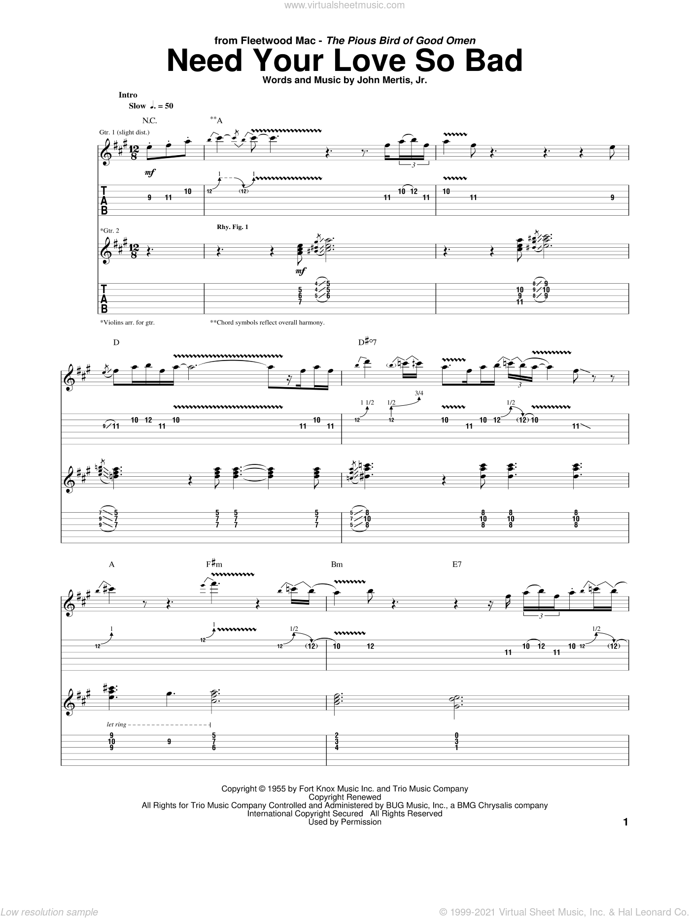 Need Your Love So Bad sheet music for guitar (tablature) by Peter Green and Fleetwood Mac. Score Image Preview.