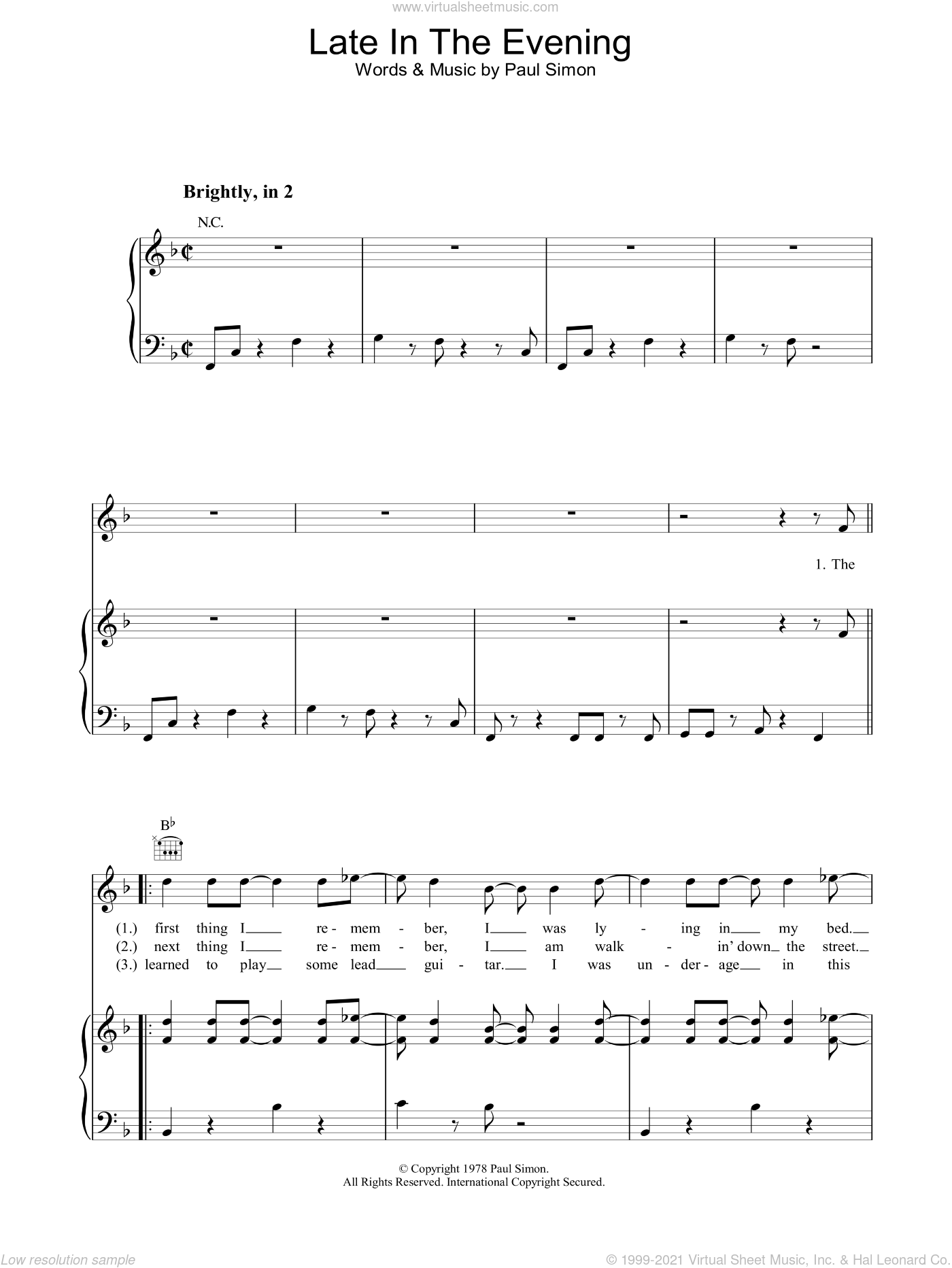 Late In The Evening sheet music for voice, piano or guitar by Paul Simon, intermediate skill level