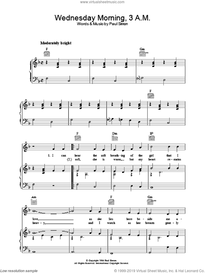 Wednesday Morning, 3 A.M. sheet music for voice, piano or guitar by Paul Simon and Simon & Garfunkel. Score Image Preview.