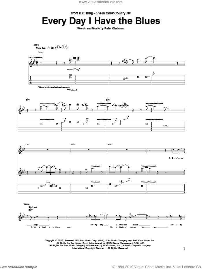 Every Day I Have The Blues sheet music for guitar (tablature) by B.B. King and Peter Chatman, intermediate skill level