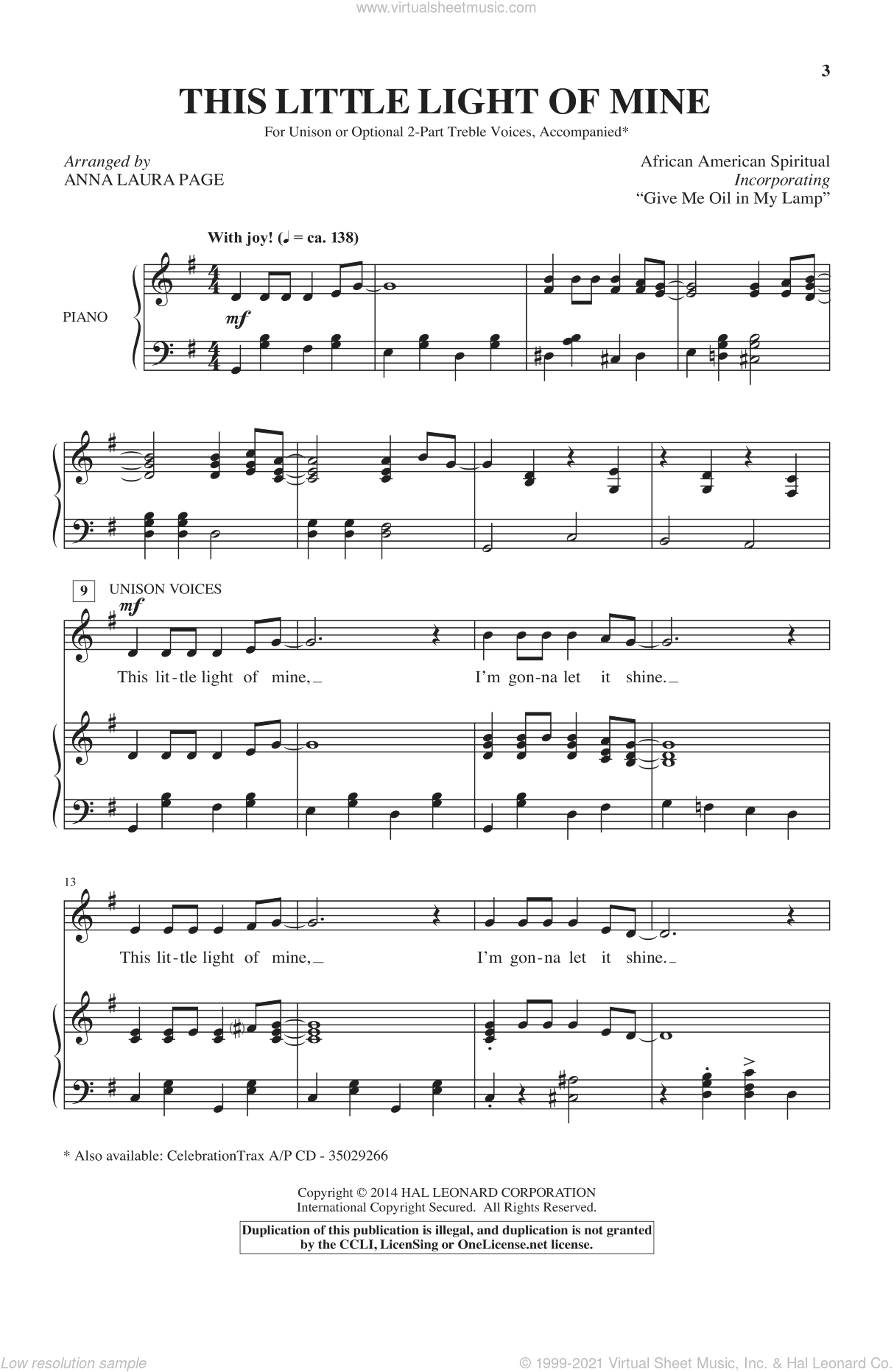 Give Me Oil In My Lamp (arr. Anna Laura Page) sheet music for choir by Anna Laura Page and Miscellaneous, intermediate skill level