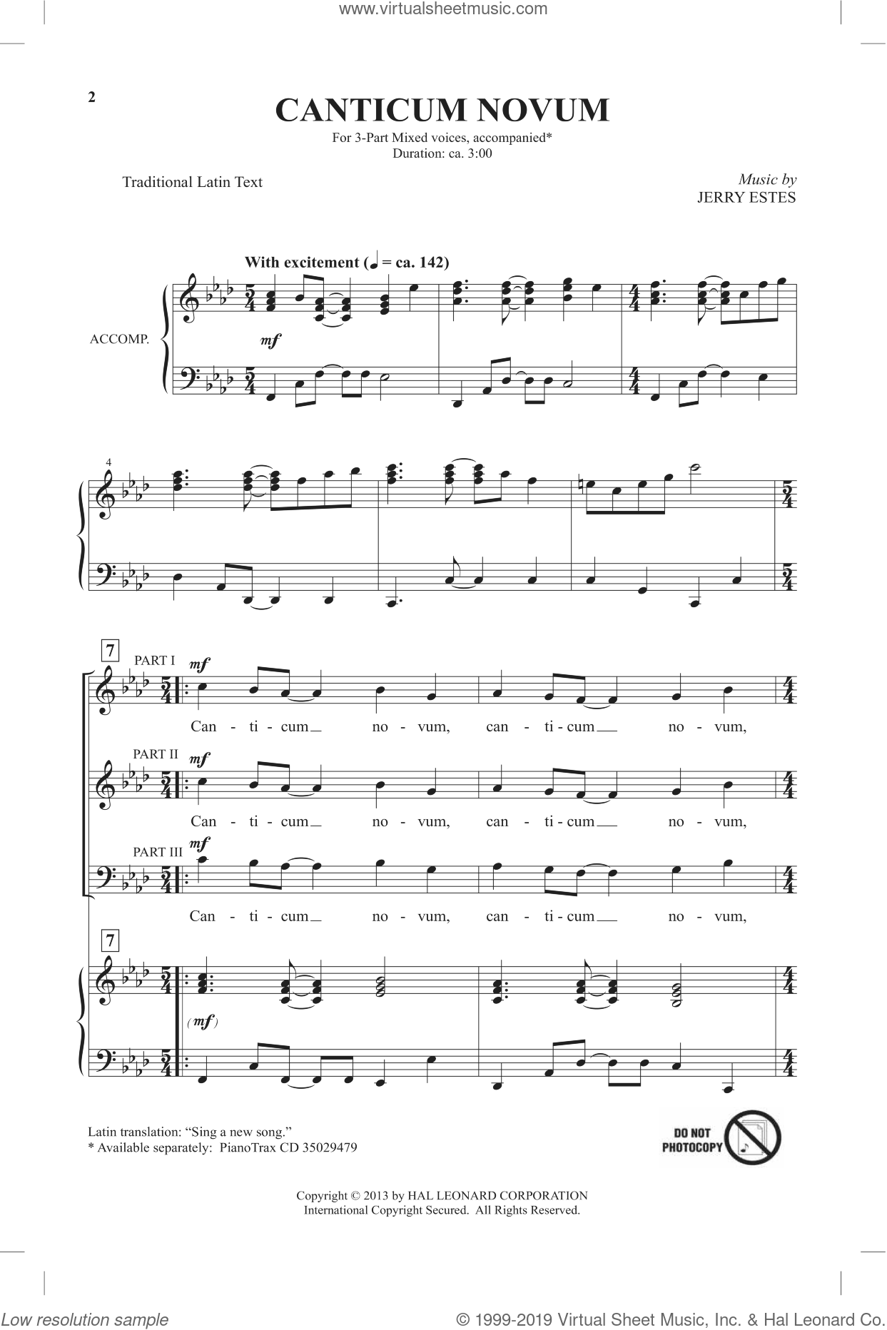 Canticum Novum sheet music for choir and piano (chamber ensemble) by Jerry Estes. Score Image Preview.