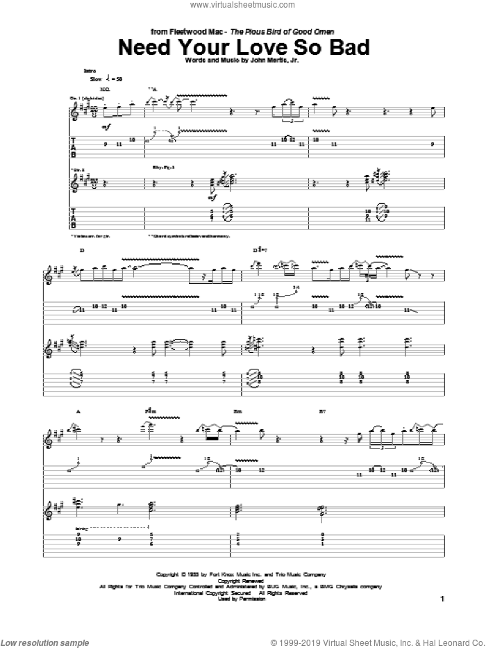 Need Your Love So Bad sheet music for guitar (tablature) by John Mertis, Jr. and Fleetwood Mac. Score Image Preview.