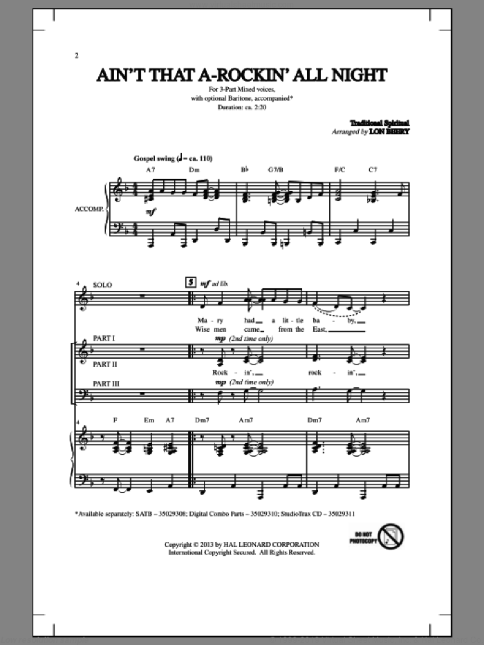 Ain't That A-Rockin' All Night sheet music for choir and piano (chamber ensemble) by Lon Beery