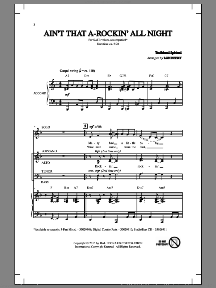 Ain't That A-Rockin' All Night sheet music for choir (SATB: soprano, alto, tenor, bass) by Lon Beery and Miscellaneous, intermediate