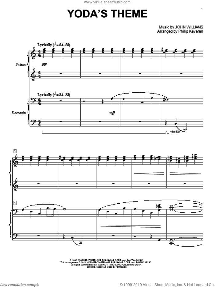 Yoda's Theme (from Star Wars: The Empire Strikes Back) (arr. Phillip Keveren) sheet music for piano four hands by John Williams and Phillip Keveren, classical score, intermediate skill level