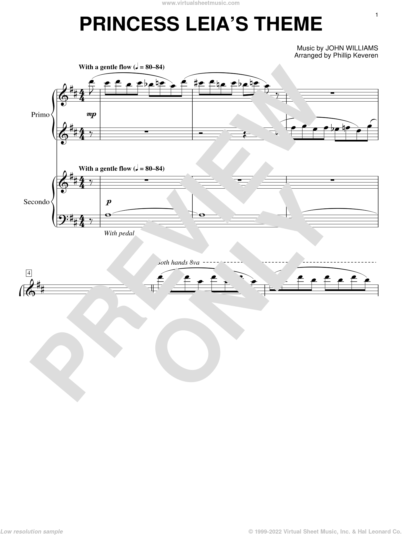 Princess Leia's Theme sheet music for piano four hands by John Williams and Phillip Keveren, classical score, intermediate skill level