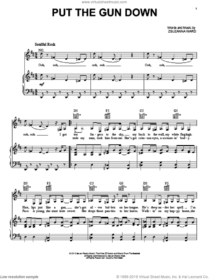 Put The Gun Down sheet music for voice, piano or guitar by ZZ Ward. Score Image Preview.