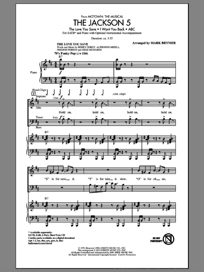 The Jackson 5 (from Motown the Musical) sheet music for choir and piano (SATB) by Mark Brymer. Score Image Preview.
