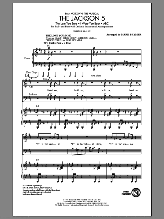The Jackson 5 (from Motown the Musical) sheet music for choir (SAB) by Mark Brymer. Score Image Preview.