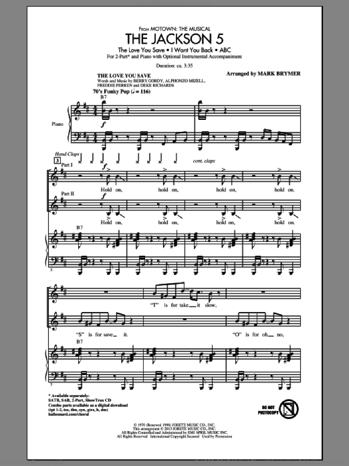 The Jackson 5 (from Motown the Musical) sheet music for choir (2-Part) by Mark Brymer and Jackson 5, intermediate duet