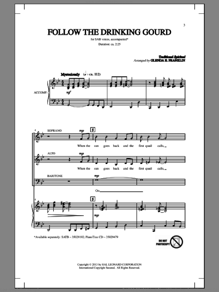 Follow The Drinkin' Gourd sheet music for choir and piano (SAB) by Glenda E. Franklin. Score Image Preview.