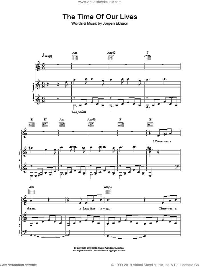 The Time Of Our Lives sheet music for voice, piano or guitar by Il Divo and Jorgen Elofsson, intermediate. Score Image Preview.
