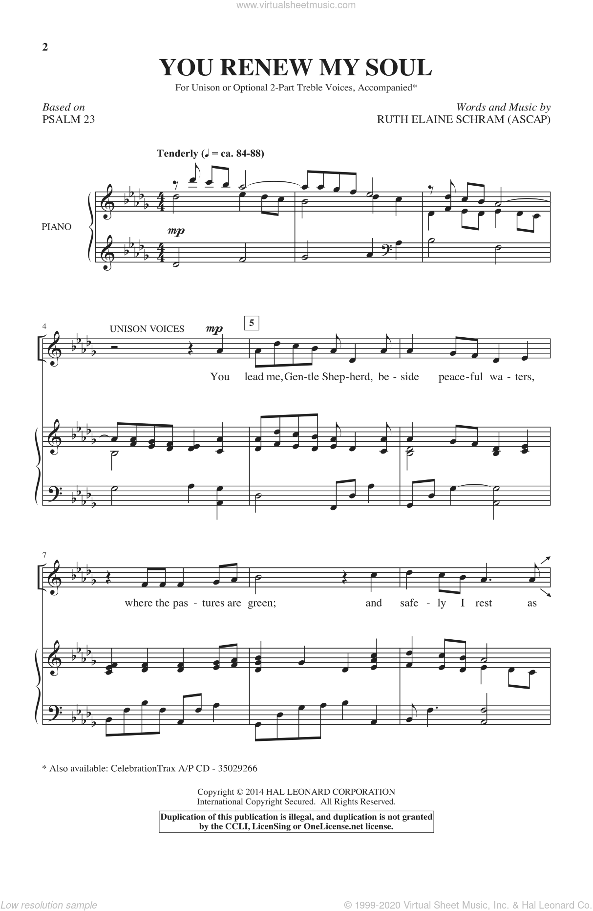 You Renew My Soul sheet music for choir by Ruth Elaine Schram, intermediate. Score Image Preview.
