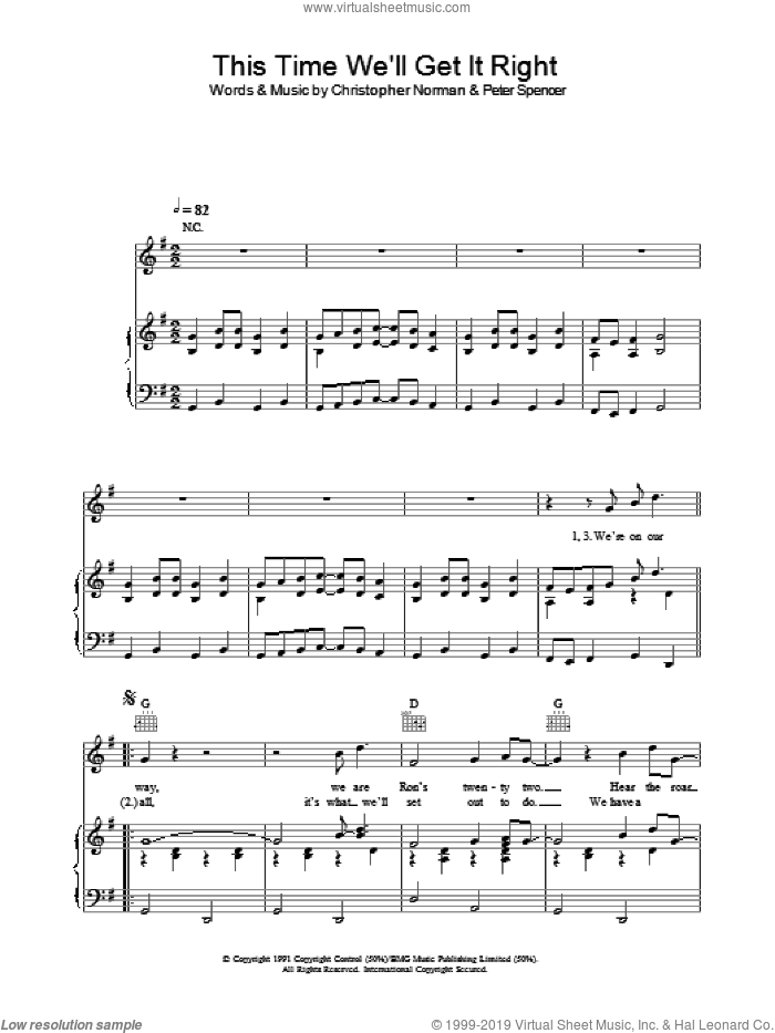 This Time (We'll Get It Right) sheet music for voice, piano or guitar by England World Cup Squad. Score Image Preview.