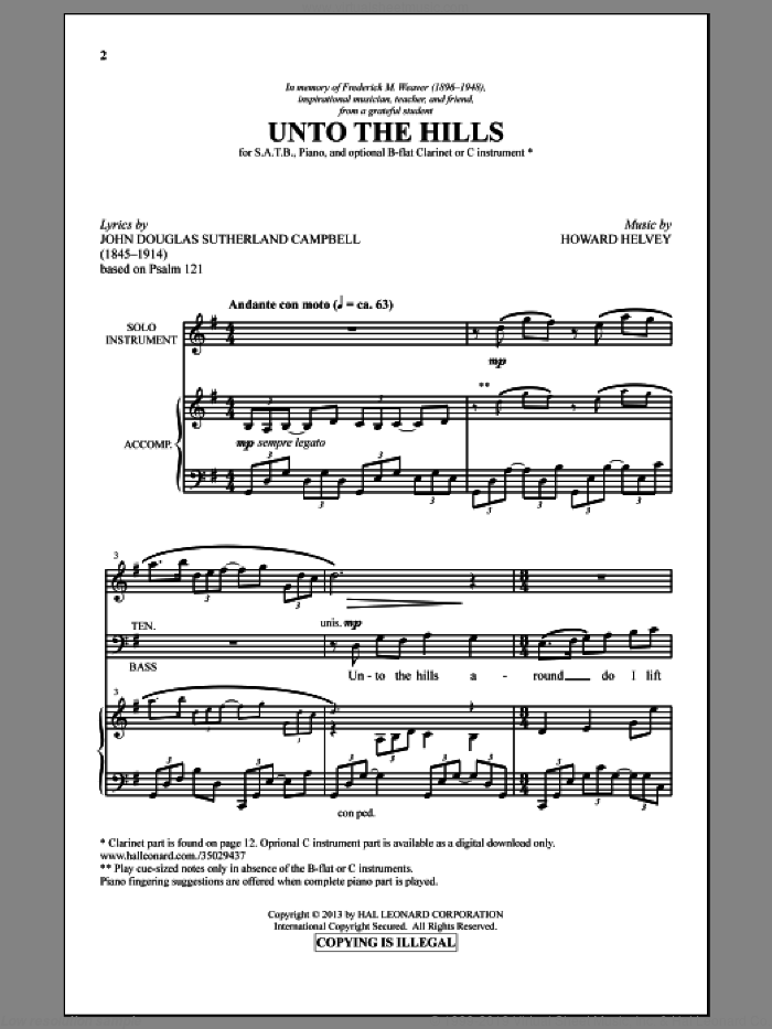 Unto The Hills sheet music for choir (SATB) by Howard Helvey, intermediate. Score Image Preview.