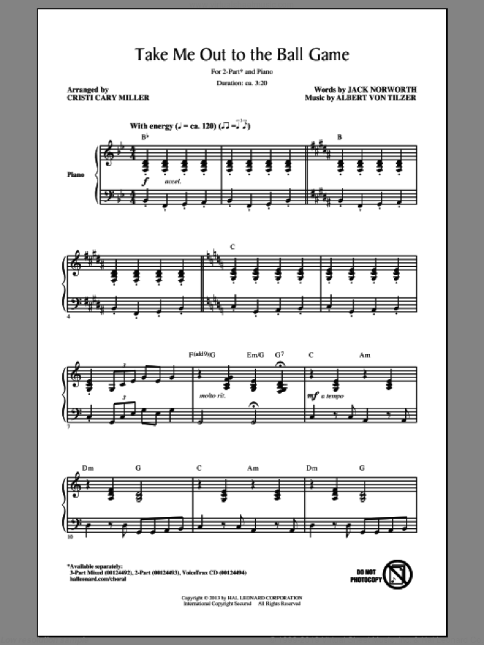 Take Me Out To The Ball Game sheet music for choir (2-Part) by Cristi Cary Miller, Albert von Tilzer and Jack Norworth, intermediate duet. Score Image Preview.