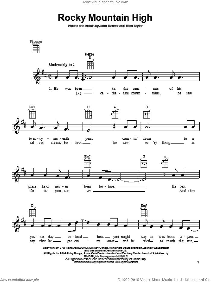 Rocky Mountain High sheet music for ukulele by John Denver, intermediate skill level