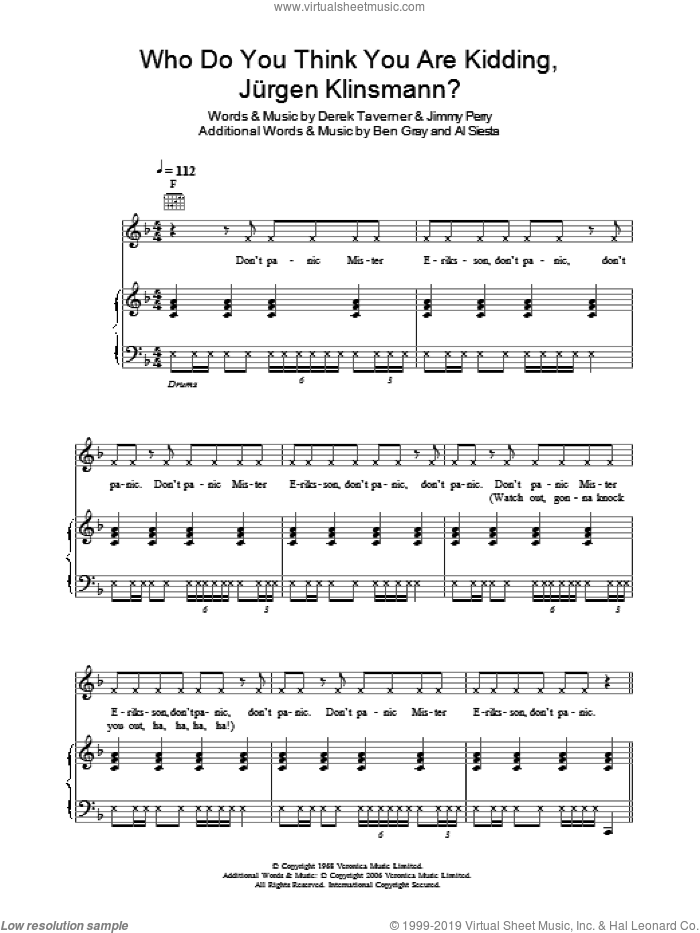Who Do You Think You Are Kidding, Jurgen Klinsmann? sheet music for voice, piano or guitar by Tonedef Allstars and Jimmy Perry, intermediate. Score Image Preview.