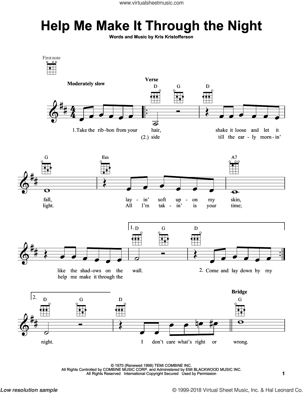 Help Me Make It Through The Night sheet music for ukulele by Kris Kristofferson, Elvis Presley, Sammi Smith and Willie Nelson. Score Image Preview.