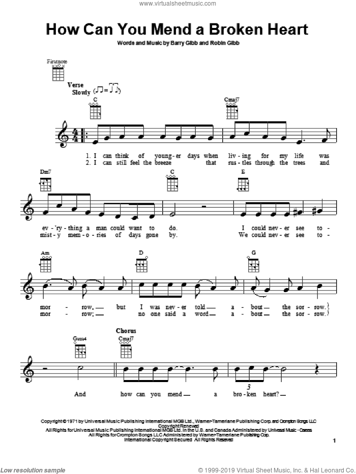 How Can You Mend A Broken Heart sheet music for ukulele by Barry Gibb, Bee Gees and Robin Gibb, intermediate skill level